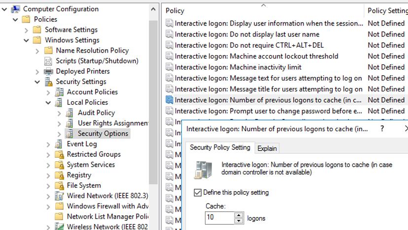 Inicio de sesión interactivo: número de inicios de sesión anteriores en caché (en caso de que el controlador de dominio no esté disponible) - GPO para restringir el uso de credenciales almacenadas en caché en Windows