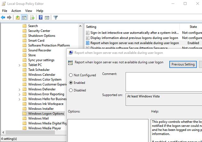 GPO: informe cuando el servidor de inicio de sesión no estaba disponible durante el inicio de sesión del usuario