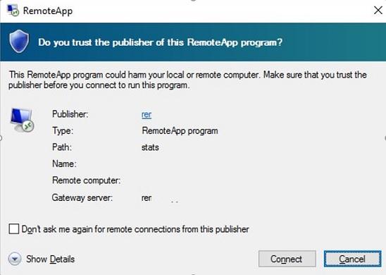 ¿Confía en el editor de este programa RemoteApp?