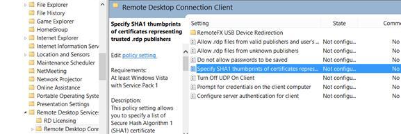 Especifique las huellas digitales SHA1 de los certificados que representan a los editores de RDP