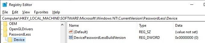 establezca el parámetro de registro DevicePasswordLessBuildVersion para habilitar el inicio de sesión automático en Windows10 20H2