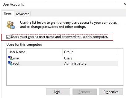 desactivar el inicio de sesión con contraseña en Windows 10: el usuario debe ingresar un nombre de usuario y contraseña para usar esta computadora