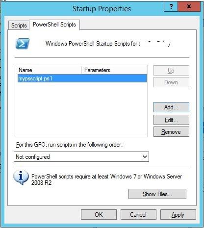 configurar el script de inicio de PowerShell con GPO