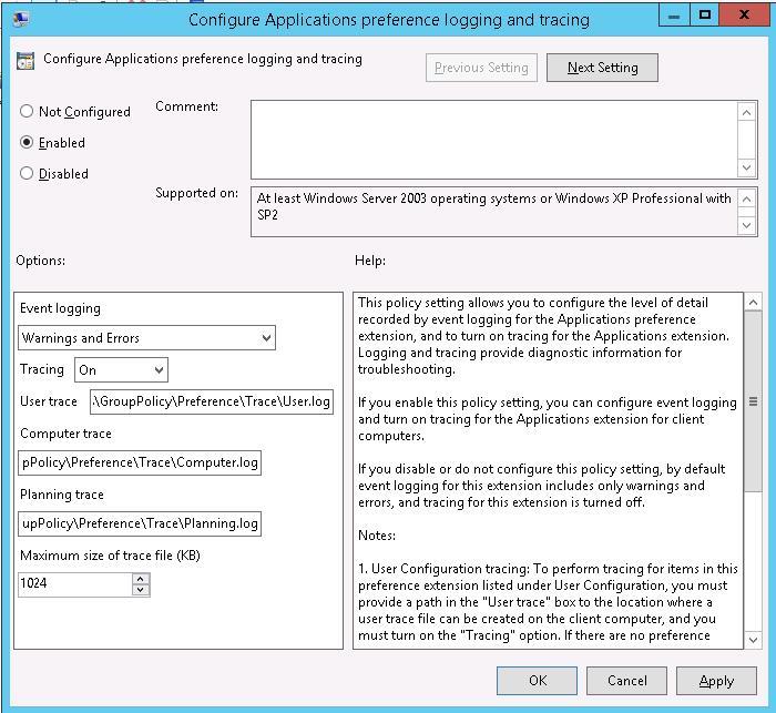 configurar el registro y el seguimiento de las preferencias de la aplicación