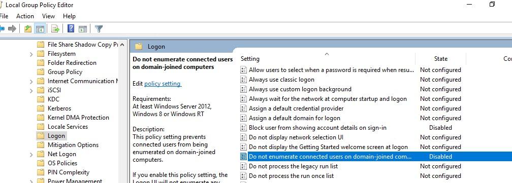 gpo: • No enumerar usuarios conectados en equipos unidos a un dominio: deshabilitado