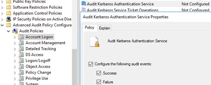 Auditoría de la política del servicio de autenticación Kerberos