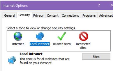 Sitios de intranet locales en IE