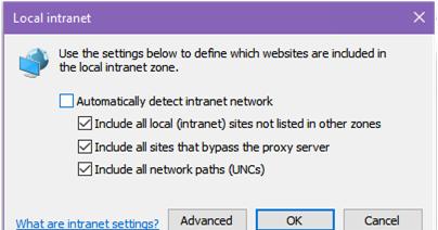 Configuración de la zona de intranet local