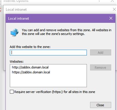 agregar la URL de zabbix a la zona local