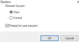 conexión en la sombra a la sesión de escritorio remoto del usuario en Windows Server 2016