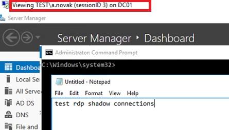 prueba de la conexión en la sombra a la sesión del usuario rdp