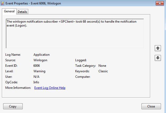 El suscriptor de notificación de winlogon <GPClient> tardó 3104 segundos en manejar el evento de notificación (CreateSession).