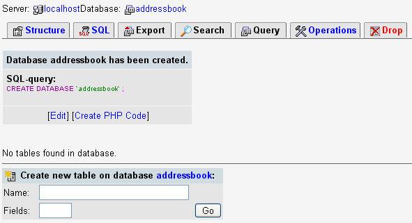 La página de estructura en phpMyAdmin