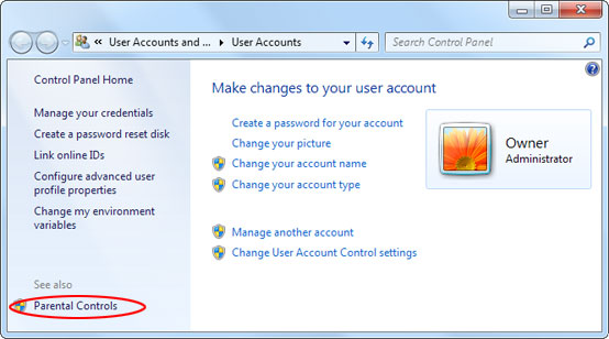 The Parental Controls item on the User Accounts screen